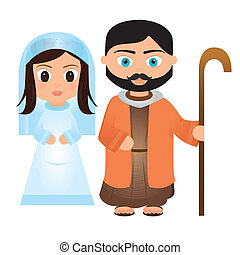 Mary and Joseph - virgin Mary and Joseph cartoon on a white...