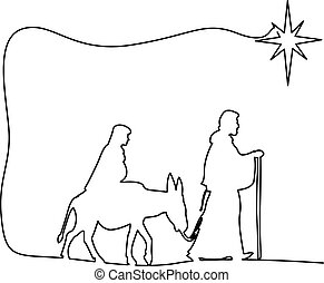 Mary and Joseph journeying through the dessert with a donkey...