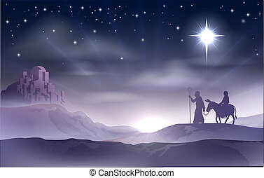 Mary and Joseph Nativity Christmas - An illustration of Mary...