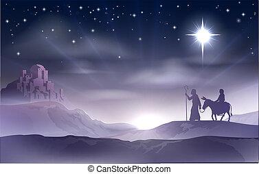 Mary and Joseph Nativity Christmas - An illustration of Mary...