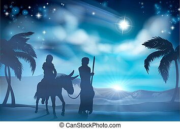 A nativity Christmas scene of Mary and Joseph with donkey on their journey and the star of Bethlehem in the background