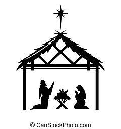Mary and Joseph pray over the newly born Jesus.