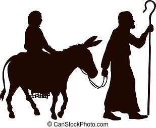 Mary and Joseph silhouettes - Silhouette illustrations of...