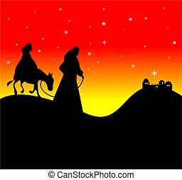 Mary and Joseph - Silhouette of Mary and Joseph approaching...
