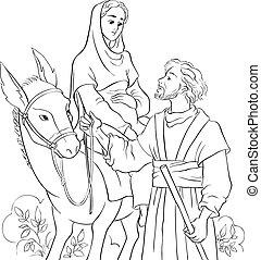 Mary and Joseph travelling by donkey to Bethlehem. Nativity...