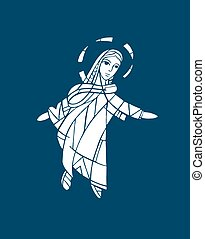 Mary Assumption - Hand drawn vector illustration or drawing...