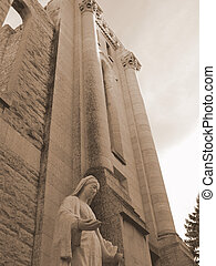 Mary at Cathedral - A statue of the Virgin Mary standing...