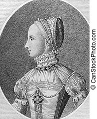 Mary I of Scotland (1542-1587) on engraving from the 1700s. Queen of Scotland during 1542-1567. Engraved by E.Harding in 1796 from a picture published by Cock of Antwerp in 1559.