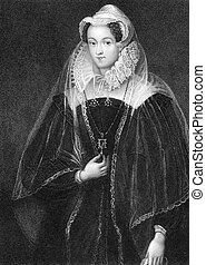 Mary I (1542-1587) on engraving from 1838. Queen of Scotland during 1542-1567. Engraved by W.T.Fry and published by J.Tallis & Co.