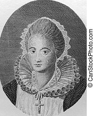 Mary I (1542-1587) on engraving from the 1700s. Queen of Scotland during 1542-1567. Engraved from a drawing taken from an original picture and published in 1778 by Rich Godfrey.
