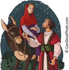 Mary and Joseph travelling by donkey to Bethlehem. Nativity story. Also available outlined version