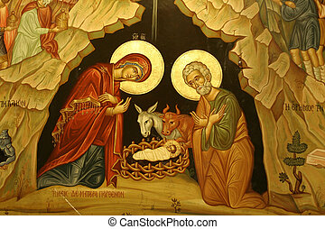 mary joseph jesus - portrait of mary, joseph & baby jesus,...