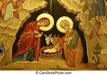 mary joseph jesus - portrait of mary, joseph & baby jesus,...