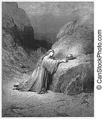 Mary Magdalene Repentant - Picture from The Holy Scriptures, Old and New Testaments books collection published in 1885, Stuttgart-Germany.
