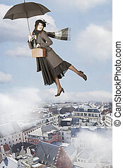 Mary Poppins flies over the city - Mary Poppins flies on an...
