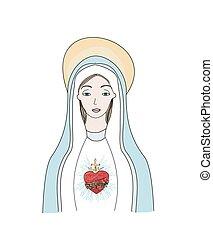 mary., vierge, coeur