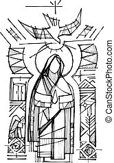 mary virgem, espírito sagrado, e, religiosas, cristão,...
