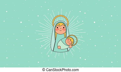 mary virgin and jesus baby manger characters , 4k video animation