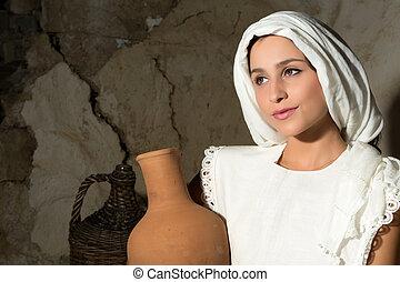 Mary with wine jug