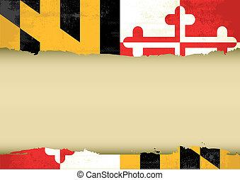 maryland, arranhado, bandeira