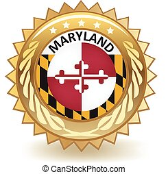 Gold badge with the flag of Maryland.