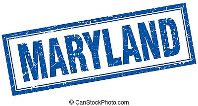 Maryland blue square grunge stamp on white