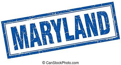 Maryland blue square grunge stamp on white