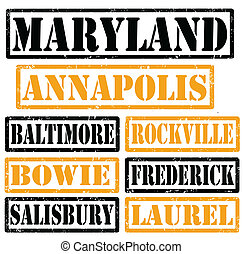 Set of Maryland cities stamps on white background, vector illustration