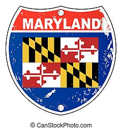 Maryland flag icons as an interstate sign over a white background