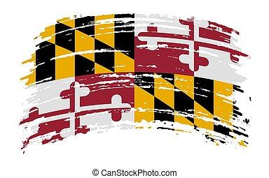 Maryland flag in grunge brush stroke, vector