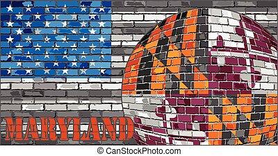 Maryland flag on the grey USA flag background - Illustration, Ball with Maryland flag