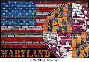 Maryland flag on the USA flag background