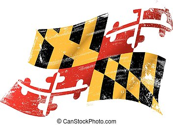 Maryland grunge flag - flag of Maryland in the wind with a...