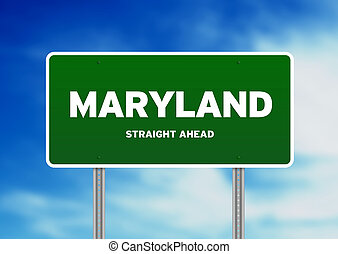 Maryland Highway Sign - Green Maryland, USA highway sign on...
