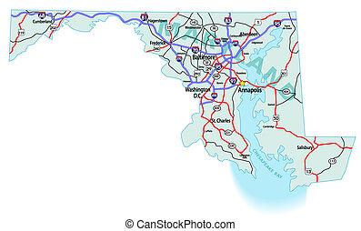 maryland, interstate, kaart, staat