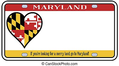Maryland License Plate - Maryland state license plate in the...
