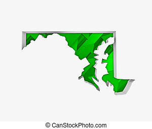 Maryland MD Arrows Map Growth Increase On Rise 3d...