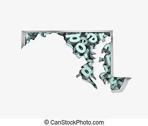 Maryland MD Letters Map Education Reading Writing Schools 3d...
