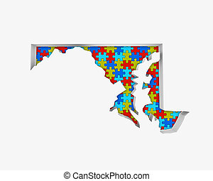 Maryland MD Puzzle Pieces Map Working Together 3d...