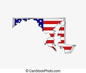 Maryland MD USA Flag Stars Stripes Map 3d Illustration