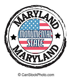 Grunge rubber stamp with flag and the text Maryland, Monumental State, vector illustration