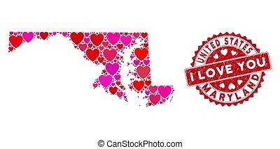 maryland, mosaico, amore, stato, textured, mappa, sigillo, cuore