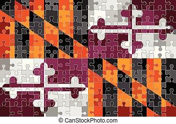 maryland, puzzle, fait, drapeau, fond
