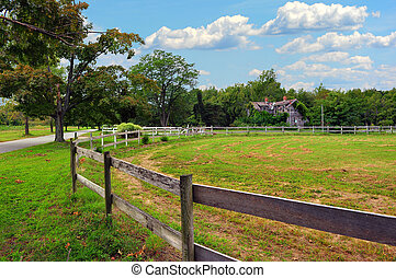 maryland, rustico, fattoria, paesaggio, con, strada paese