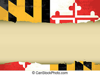 Maryland scratched flag - A flag of Maryland with a large...