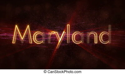 Maryland - Shiny looping state name text animation -...