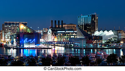 maryland, skyline, nacht, baltimore