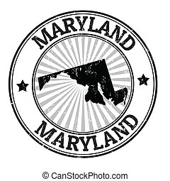 Grunge rubber stamp with the name and map of Maryland, vector illustration