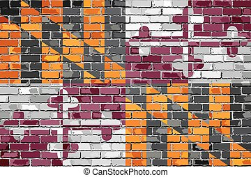 Maryland State Flag on a brick wall