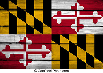 Maryland State Flag on wood background